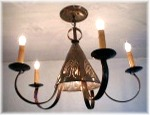 5 Arm-W/Down  Pennsylvania German Single Cone Chandelier, custom perforated art included